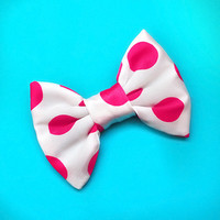 White & Pink Dot Micro Mini Hair Bow | Starry Eyed Bowtique