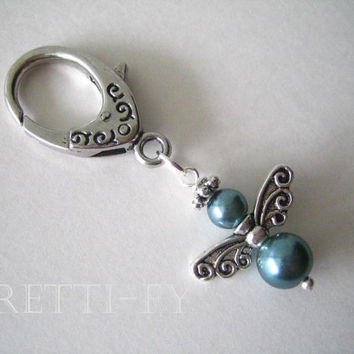 Teal Blue Angel Keychain Charm, Guardian Angel Charm, Small Blue Angel, Small Angel Key Ring, Communion Favors, Unique Key Ring,Event Favors