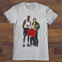 "Micheal Jordan Michael Jackson Macaulay Culkin T shirt ""The Goat"" white, gray, black"