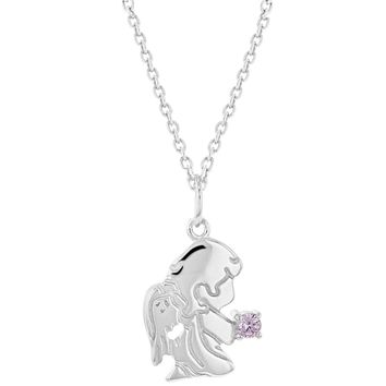 """925 Sterling Silver Pink CZ Guardian Angel Pendant Necklace Baby Girl 16"""""""