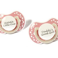 DDLG Adult baby pacifier. ABDL pacifier with the words shhhhh little one or daddy's good girl. Glow in the dark adult dummy - nuk 3