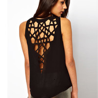 Geometric Cut-Out Back Sleeveless Top