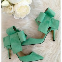 Bradshaw bow heels - Mint bow high heels with above the ankle closure.