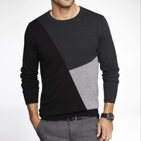 COLOR BLOCK INTARSIA CREW NECK SWEATER