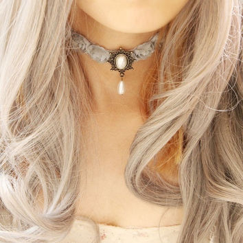Vintage Gothic Style Alloy Pearl Wide Lace Chokers Necklaces, Halloween Necklace, Halloween Jewelry, Halloween Gifts, Gifts for Halloween = 1946443908