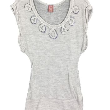 Free People Acrylic Wool Gray Sheer Top Shirt Boho Peasant Hippie Soft Womens XS - Preowned