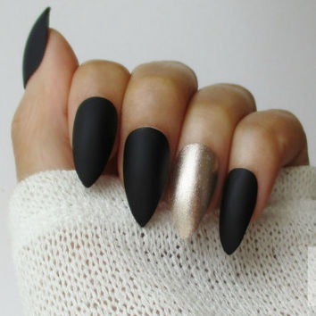 Matte Black Almond Nails | Stiletto Nails | Press On Nails | Fake Nails | Gold Accent Nails