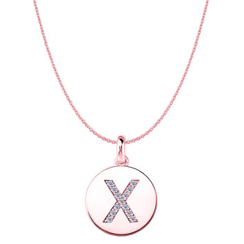 """X"" Diamond Initial 14K Rose Gold Disk Pendant (0.13ct)"
