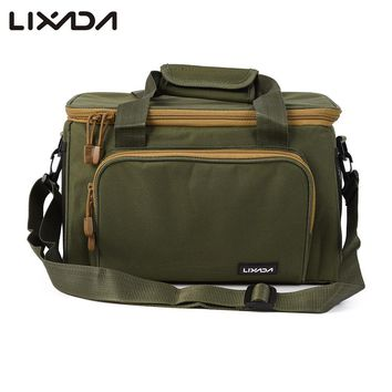 Lixada 37*25*25cm Men Fishing Bag Canvas Outdoor Waist Shoulder Bags Fishing Reel Lure Storage Bag Fishing Tackle Pesca 3 Color