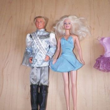 Lot of 2 Barbie and Prince 2003 Swan Lake Odette Doll and Prince Daniel Used