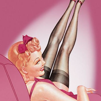 Pin Up Art Blonde With Legs Up In The Air Poster