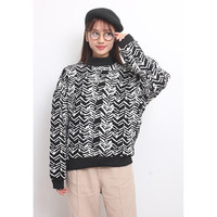 Abstract Herringbone Oversized Knit Jumper