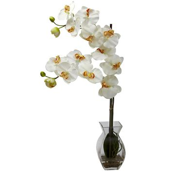 Silk Flowers -Cream Phalaenopsis Orchid With Vase Artificial Plant