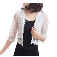 summer fashion female lace jacket casual short cardigan hollow out patchwork Shawl Sunscreen for women plus size free shipping