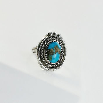 Bisbee Turquoise Ring - Native American Turquoise Ring - Sterling Bisbee Turquoise Stone Ring - Navajo Turquoise Silver Ring Size 6.75