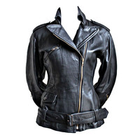 Jean paul Gaultier - JEAN PAUL GAULTIER fitted black leather motorcycle jacket