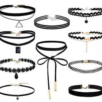 8-10PCS Womens Black Velvet Choker Necklace for Girls Lace Choker Tattoo Necklace