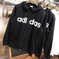 ADIDAS autumn and winter new print letter hooded zipper cardigan sweater black