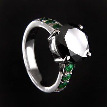 Black diamond Solitaire ring with emerald accents- 1 to 3 carats Diamond Solitaire.Silver and Gold Options. CERTIFIED.