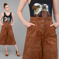 70s Brown Suede Gauchos Cropped Wide Leg Pants High Waist 1970s Boho Hippie Leather Culottes Small Medium S M