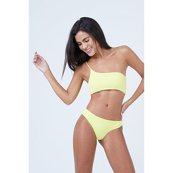 Tulum One Shoulder Bikini Top - Sunshine Yellow