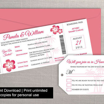 DIY Printable Wedding Boarding Pass Luggage Tag Template | Invitation | Editble MS Word file | Instant Download | Hawaii Dark Coral Pink