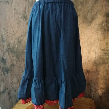 Chambray Denim Skirt Squaredance Vintage 1970s Denim Tone Cotton Skirt w/ Ruffle and Red Bandana Trim