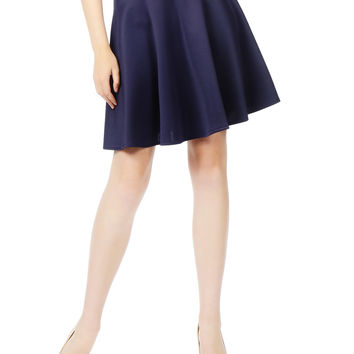 LE3NO Womens Basic Versatile Elastic Waist Flared Skater Skirt (CLEARANCE)