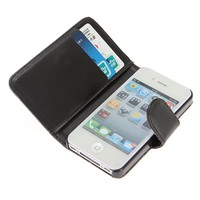 White Wallet PU Leather Credit Card Holder Pouch Case Cover For Apple iPhone 4 4S 4G