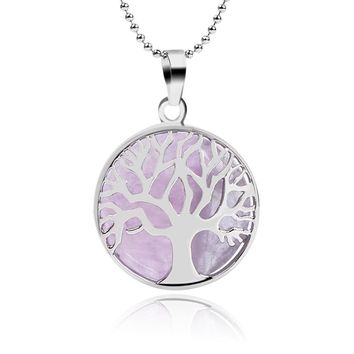 Tree Of Life Healing Stone Openwork Necklace