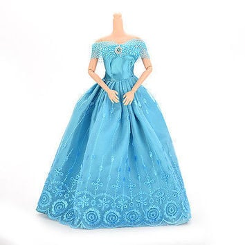 1 Pcs Handmade Party Doll Dress Clothes Blue Gown For Barbie Christmas Gift Fine