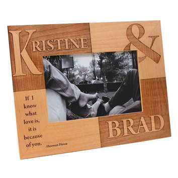 Personalized Engraved Wedding Day Picture Frame Alder Wood Bride Groom Keepsake Gift 5x7