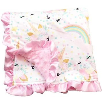 Unicorn Blanket White Gold Rainbow Polka Dot