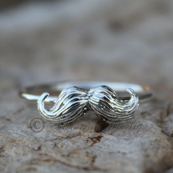 I Mustache You A Question - Sterling Silver Mustache Ring