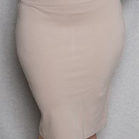 2B Clothing Jersey Stretch Knit Plus-Size Basic Pencil Skirt - Taupe