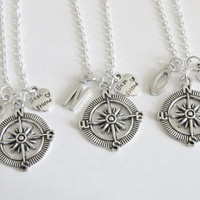 3 Best Friends Compass Initial Necklaces, 3 BFF Necklaces, 3 Best Friends Necklaces, 3 Best Friend Jewelry