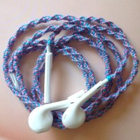 MyBuds Wrapped Tangle-Free Earbuds for iPhone | Lavender Purple & Pink Swirled | with Microphone and Volume Control