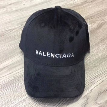 Balenciaga Woman Men Fashion Velvet Embroidery Adjustable Baseball Cap Hat Sport Cap