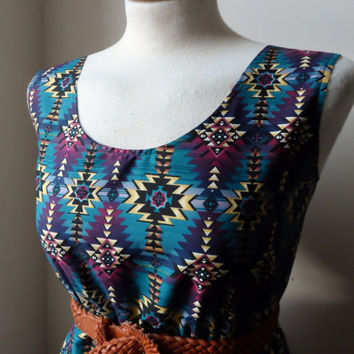 Dress with Aztec Navajo Print in Dark Purple and Teal / Handmade / Choose Your Size