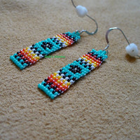 Native American Style small simple style dangle loomed earrings