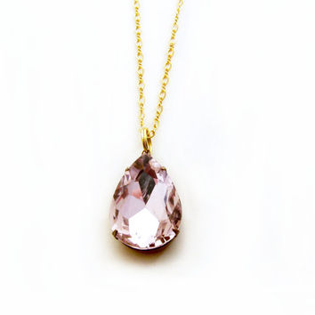 Pink Rhinestone Necklace, Gift for Her, Valentine, Rose Pendant, Bridesmaid Jewelry- Ava in Pink