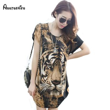 free shipping women dress tiger printed casual loose style dresses ladies summer outwear dress clothes 21