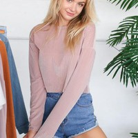 DANI VELVET STRIPED PULLOVER IN BLUSH PINK