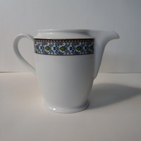 Vintage Friesland Germany Creamer, White with Blue & Green Design Band, Simple Clean Shape