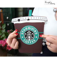 Soft 3D Cartoon Starbuck Coffee Cup Silicon case for ipad mini 1 2 3 for ipad 2 3 4 for apple gift free shipping