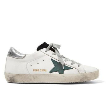 PEAP2Q golden goose deluxe brand super star distressed suede paneled leather sneakers