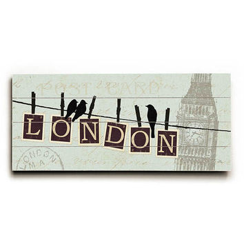 Migration London by Artist Alain Pelletier Wood Sign