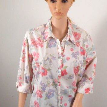 Pink Floral Blouse - Crazy Horse  - Floral Blouse Size Large -  1990s - Free US Shipping