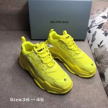 Yellow Balenciaga Triple-S Sneaker Casual Shoes Clunky Sneakers