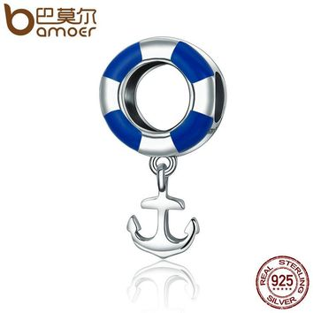 Real 925 Sterling Silver Ocean Journey Lifebuoy Navy Anchor Beads fit Charm Bracelets Necklace Jewelry SCC176